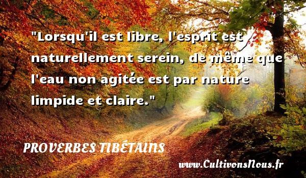 Proverbes tibétains - Proverbe libre - Lorsqu il est libre, l esprit est naturellement serein, de même que l eau non agitée est par nature limpide et claire. Un Proverbe tibétain PROVERBES TIBÉTAINS