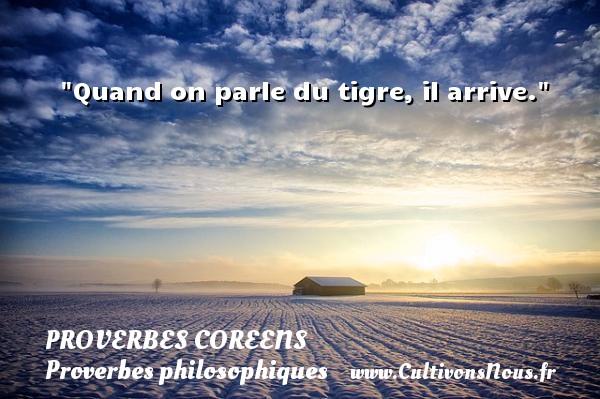 Quand on parle du tigre, il arrive. Un Proverbe coréen PROVERBES COREENS - Proverbes philosophiques