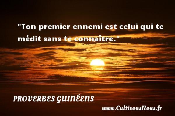 Ton premier ennemi est celui qui te médit sans te connaître. Un Proverbe guinéen PROVERBES GUINÉENS - proverbes guinéens - Proverbes philosophiques
