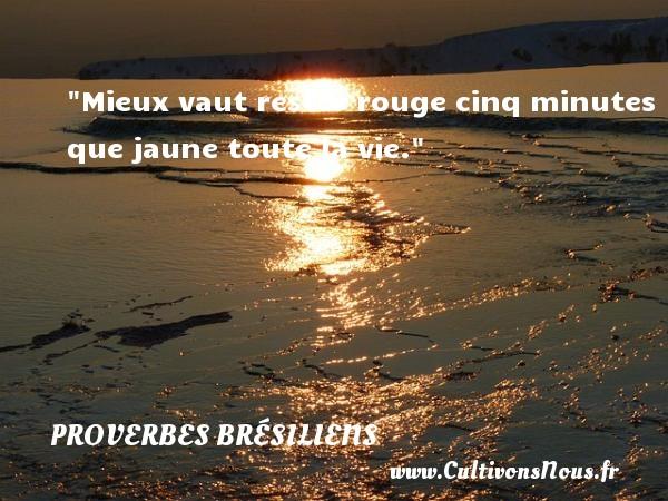 Mieux vaut rester rouge cinq minutes que jaune toute la vie. Un Proverbe brésilien PROVERBES BRESILIENS - Proverbes philosophiques