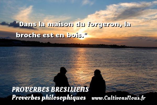 Dans la maison du forgeron, la broche est en bois. Un Proverbe brésilien PROVERBES BRESILIENS - Proverbes philosophiques