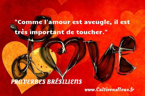Comme l amour est aveugle, il est très important de toucher. Un Proverbe brésilien PROVERBES BRESILIENS