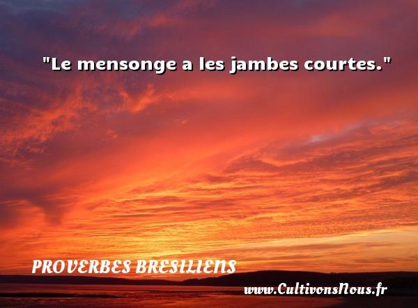 Proverbes bresiliens - Proverbe mensonge - Le mensonge a les jambes courtes. Un Proverbe brésilien PROVERBES BRESILIENS