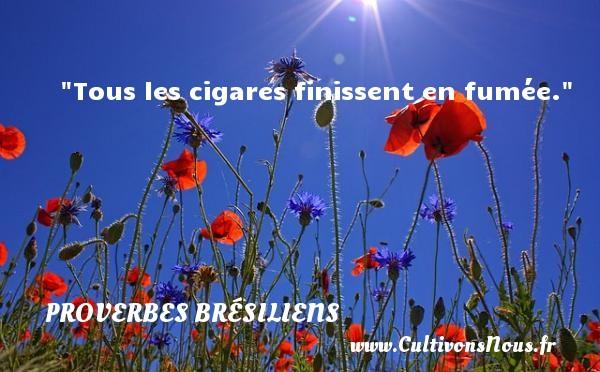Tous les cigares finissent en fumée. Un Proverbe brésilien PROVERBES BRESILIENS