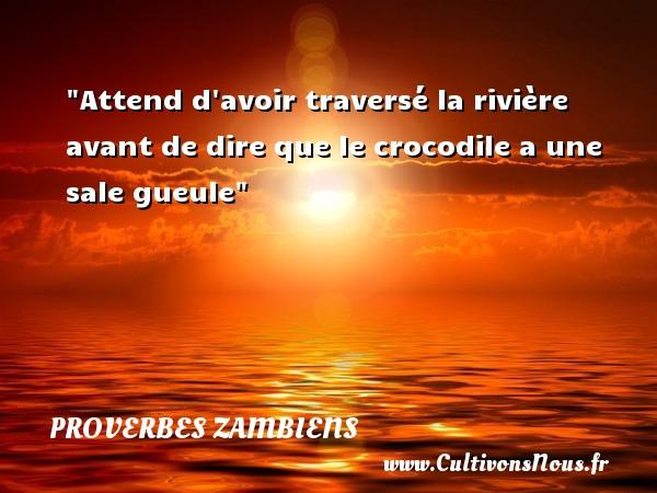 Proverbes Zambiens - Attend d avoir traversé la rivière avant de dire que le crocodile a une sale gueule Un Proverbe Zambien PROVERBES ZAMBIENS