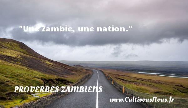 Une Zambie, une nation. Un Proverbe Zambien PROVERBES ZAMBIENS