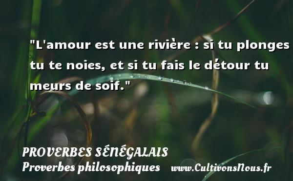 L amour est une rivière : si tu plonges tu te noies, et si tu fais le détour tu meurs de soif. Un Proverbe sénégalais PROVERBES SÉNÉGALAIS - Proverbes sénégalais - Proverbes philosophiques