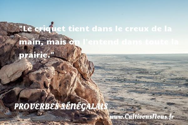 Le criquet tient dans le creux de la main, mais on l entend dans toute la prairie. Un Proverbe sénégalais PROVERBES SÉNÉGALAIS - Proverbes sénégalais - Proverbes philosophiques