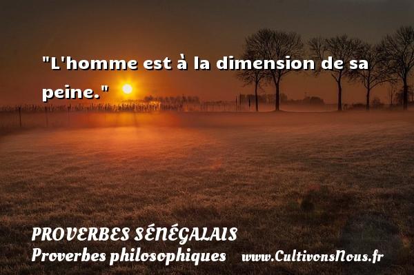 L homme est à la dimension de sa peine. Un Proverbe sénégalais PROVERBES SÉNÉGALAIS - Proverbes sénégalais - Proverbes philosophiques