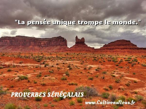 La pensée unique trompe le monde. Un Proverbe sénégalais PROVERBES SÉNÉGALAIS - Proverbes sénégalais - Proverbes philosophiques