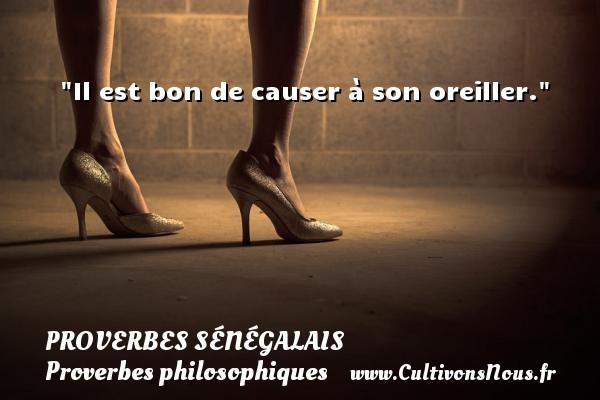 Il est bon de causer à son oreiller. Un Proverbe sénégalais PROVERBES SÉNÉGALAIS - Proverbes sénégalais - Proverbes philosophiques
