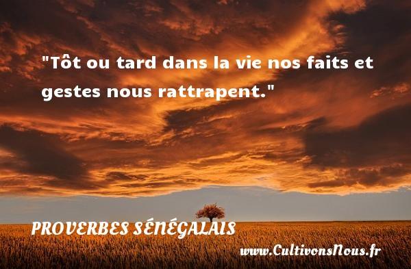 Tôt ou tard dans la vie nos faits et gestes nous rattrapent. Un Proverbe sénégalais PROVERBES SÉNÉGALAIS - Proverbes sénégalais - Proverbes philosophiques