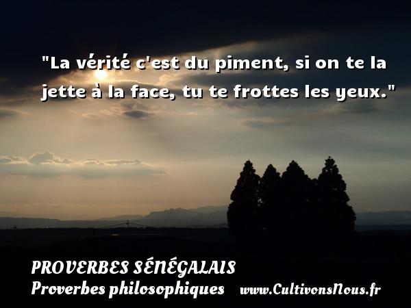 La vérité c est du piment, si on te la jette à la face, tu te frottes les yeux. Un Proverbe sénégalais PROVERBES SÉNÉGALAIS - Proverbes sénégalais - Proverbes philosophiques