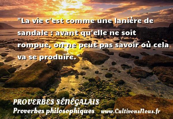Proverbes sénégalais - Proverbes philosophiques - La vie c est comme une lanière de sandale : avant qu elle ne soit rompue, on ne peut pas savoir où cela va se produire. Un Proverbe sénégalais PROVERBES SÉNÉGALAIS