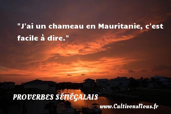 J ai un chameau en Mauritanie, c est facile à dire. Un Proverbe sénégalais PROVERBES SÉNÉGALAIS - Proverbes sénégalais - Proverbes philosophiques