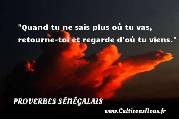 Quand tu ne sais plus où tu vas, retourne-toi et regarde d où tu viens. Un Proverbe sénégalais PROVERBES SÉNÉGALAIS - Proverbes sénégalais - Proverbes philosophiques