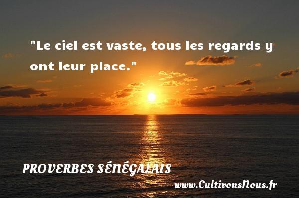 Le ciel est vaste, tous les regards y ont leur place. Un Proverbe sénégalais PROVERBES SÉNÉGALAIS - Proverbes sénégalais