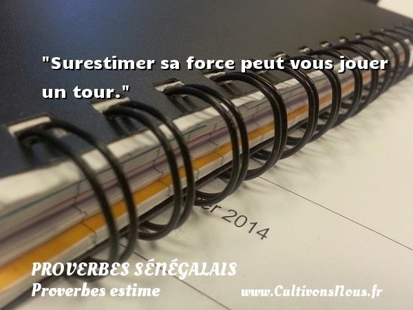 Surestimer sa force peut vous jouer un tour. Un Proverbe sénégalais PROVERBES SÉNÉGALAIS - Proverbes sénégalais - Proverbes estime