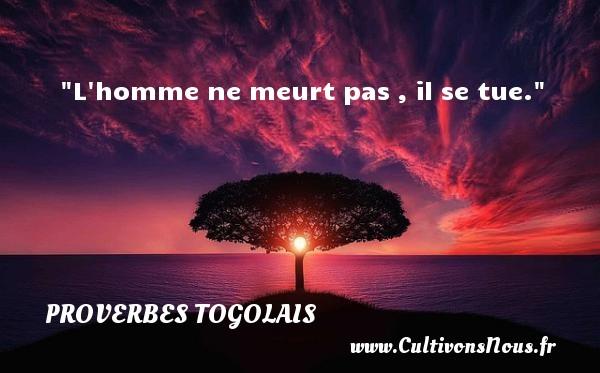 L homme ne meurt pas , il se tue. Un Proverbe togolais PROVERBES TOGOLAIS - Proverbes philosophiques