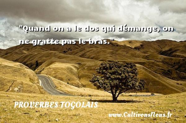 Quand on a le dos qui démange, on ne gratte pas le bras. Un Proverbe togolais PROVERBES TOGOLAIS