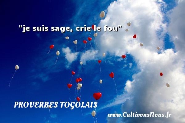 je suis sage, crie le fou Un Proverbe togolais PROVERBES TOGOLAIS