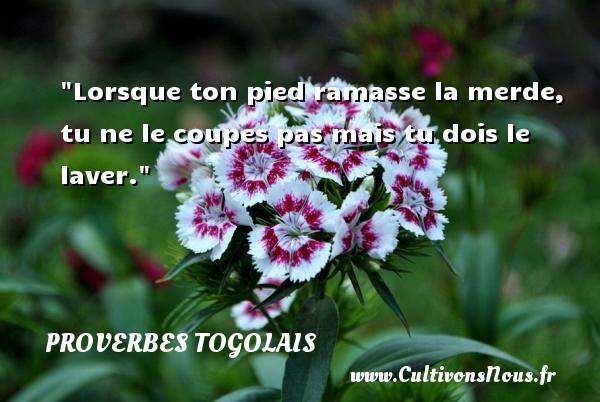 Proverbes togolais - Lorsque ton pied ramasse la merde, tu ne le coupes pas mais tu dois le laver. Un Proverbe togolais PROVERBES TOGOLAIS