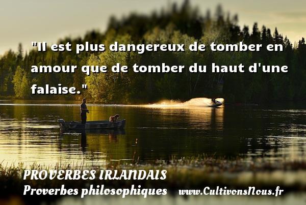 Il est plus dangereux de tomber en amour que de tomber du haut d une falaise. Un Proverbe irlandais PROVERBES IRLANDAIS - Proverbes philosophiques