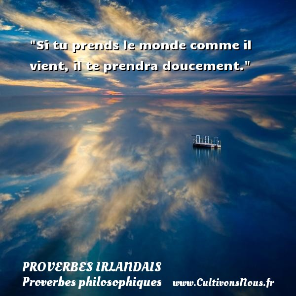 Si tu prends le monde comme il vient, il te prendra doucement. Un Proverbe irlandais PROVERBES IRLANDAIS - Proverbes philosophiques