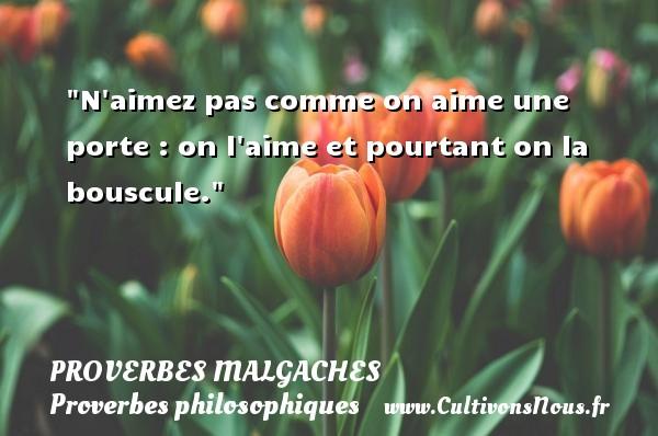 Proverbes malgaches - Proverbes philosophiques - N aimez pas comme on aime une porte : on l aime et pourtant on la bouscule. Un Proverbe malgache PROVERBES MALGACHES