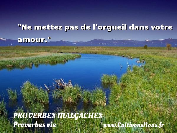 Ne mettez pas de l orgueil dans votre amour. Un Proverbe malgache PROVERBES MALGACHES - Proverbes vie