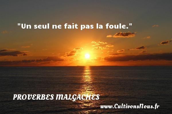 Un seul ne fait pas la foule. Un Proverbe malgache PROVERBES MALGACHES - Proverbes philosophiques