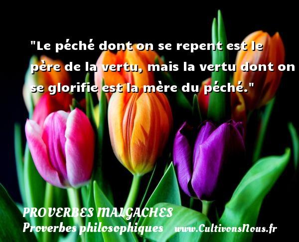 Proverbes malgaches - Proverbes philosophiques - Le péché dont on se repent est le père de la vertu, mais la vertu dont on se glorifie est la mère du péché. Un Proverbe malgache PROVERBES MALGACHES