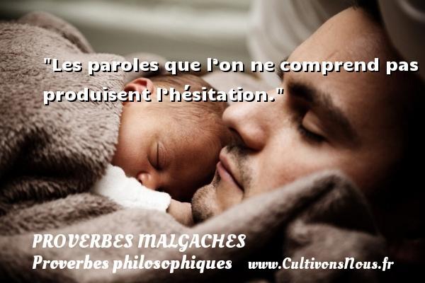 Proverbes malgaches - Proverbes philosophiques - Les paroles que l'on ne comprend pas produisent l'hésitation. Un Proverbe malgache PROVERBES MALGACHES
