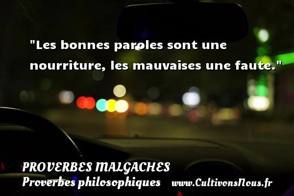 Proverbes malgaches - Proverbes philosophiques - Les bonnes paroles sont une nourriture, les mauvaises une faute. Un Proverbe malgache PROVERBES MALGACHES