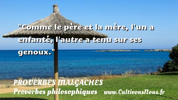 Proverbes malgaches - Proverbes philosophiques - Comme le père et la mère, l un a enfanté, l autre a tenu sur ses genoux. Un Proverbe malgache PROVERBES MALGACHES