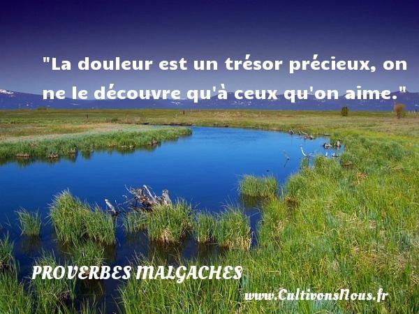 La douleur est un trésor précieux, on ne le découvre qu à ceux qu on aime. Un Proverbe malgache PROVERBES MALGACHES - Proverbes malgaches - Proverbes douleur