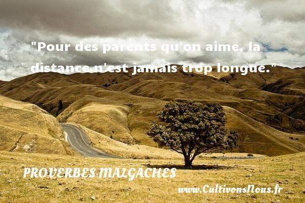 Pour des parents qu on aime, la distance n est jamais trop longue. Un Proverbe malgache PROVERBES MALGACHES