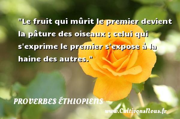 Le fruit qui mûrit le premier devient la pâture des oiseaux ; celui qui s exprime le premier s expose à la haine des autres. Un Proverbe éthiopien PROVERBES ÉTHIOPIENS - Proverbes éthiopiens - Proverbes haine