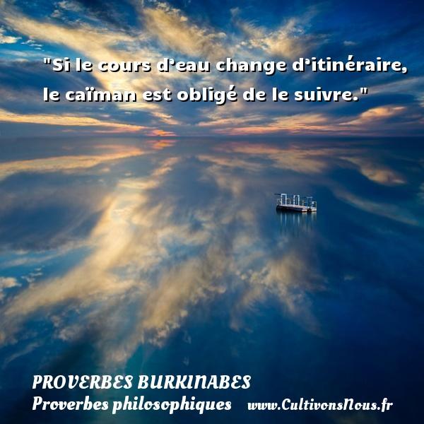 Si le cours d'eau change d'itinéraire, le caïman est obligé de le suivre. Un Proverbe burkinabé PROVERBES BURKINABES - Proverbes philosophiques