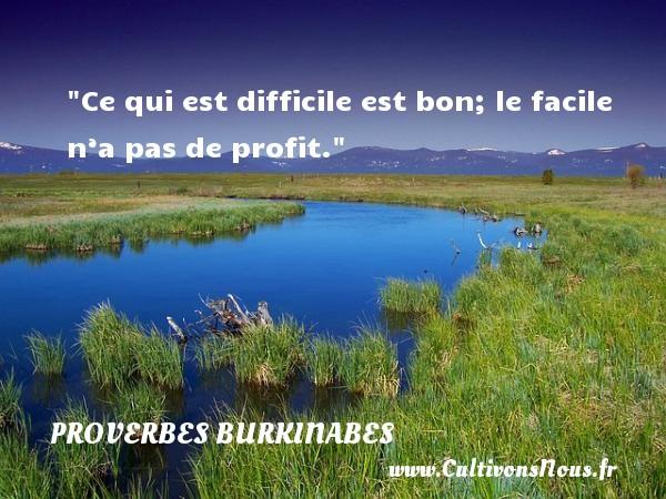 Ce qui est difficile est bon; le facile n'a pas de profit. Un Proverbe burkinabé PROVERBES BURKINABES - Proverbes philosophiques