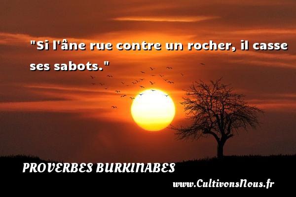 Si l âne rue contre un rocher, il casse ses sabots. Un Proverbe burkinabé PROVERBES BURKINABES - Proverbes connus - Proverbes philosophiques