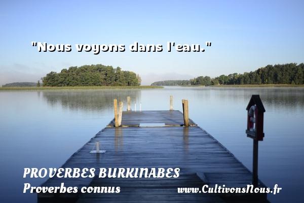 Proverbes burkinabes - Proverbes connus - Proverbes philosophiques - Nous voyons dans l eau. Un Proverbe burkinabé PROVERBES BURKINABES
