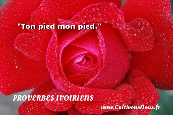 Ton pied mon pied. Un Proverbe ivoirien PROVERBES IVOIRIENS - Proverbes connus - Proverbes philosophiques