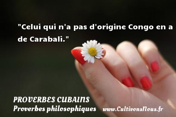 Proverbes cubains - Proverbe bain - Proverbes philosophiques - Celui qui n a pas d origine Congo en a de Carabali. Un Proverbe cubain PROVERBES CUBAINS