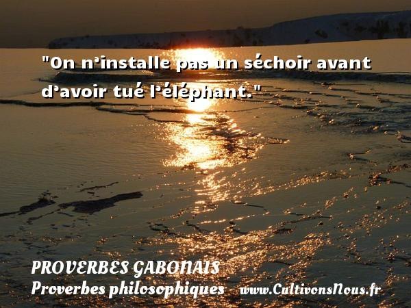Proverbes gabonais - Proverbes philosophiques - On n'installe pas un séchoir avant d'avoir tué l'éléphant. Un Proverbe gabonais PROVERBES GABONAIS
