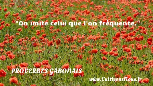 On imite celui que l on fréquente. Un Proverbe gabonais PROVERBES GABONAIS - Proverbes philosophiques
