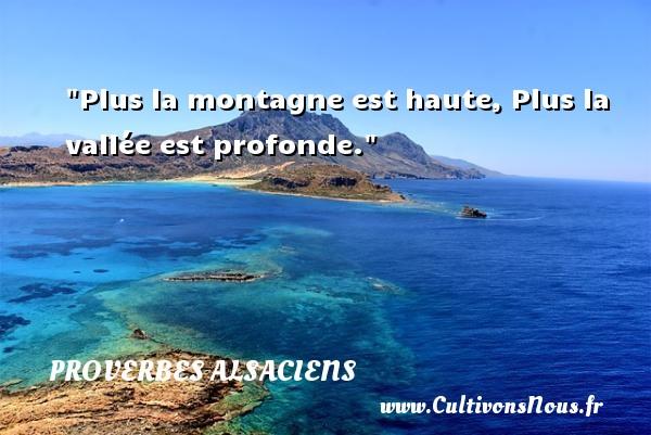 Proverbes alsaciens - Plus la montagne est haute, Plus la vallée est profonde. Un Proverbe alsacien PROVERBES ALSACIENS