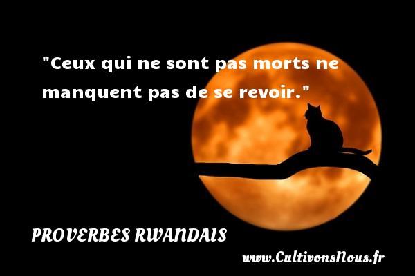 Ceux qui ne sont pas morts ne manquent pas de se revoir. Un Proverbe rwandais PROVERBES RWANDAIS - Proverbes philosophiques