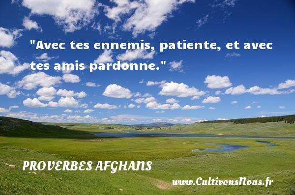 Avec tes ennemis, patiente, et avec tes amis pardonne. Un Proverbe afghan PROVERBES AFGHANS - Proverbes philosophiques - Proverbes vie