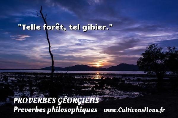 Proverbes géorgiens - Proverbes philosophiques - Telle forêt, tel gibier. Un Proverbe géorgien PROVERBES GÉORGIENS